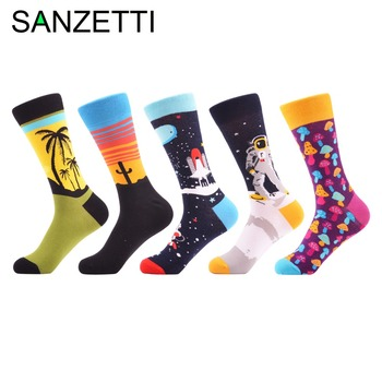 SANZETTI 5 pairs/lot Colorful Men's Skateboard Socks Funny Design Combed Cotton Dress Wedding Socks Casual Crew Party Socks