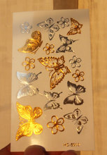 Body Art Beauty Party Women Makeup Golden Silvery Butterfly Sexy Waterproof Temporary Tattoo Stickers #2