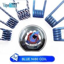 Vapethink синий Prebuilt Ni80 катушка нихрома плавленый Clapton Jakiro плоская Гидра плавленый твист электронная сигарета Vape Premade Rda для электронной сигареты
