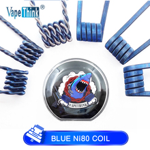 Vapethink Blue Prebuilt Ni80 Coil Nichrome Fused Clapton Jakiro Flat Hydra Fused Twist Ecig Vape Premade Rda for E Cigarette e xy flat coil wire 120mm heating wire electronic cigarette 10pcs in a tube for vapor vape rda rta premade resistance wire
