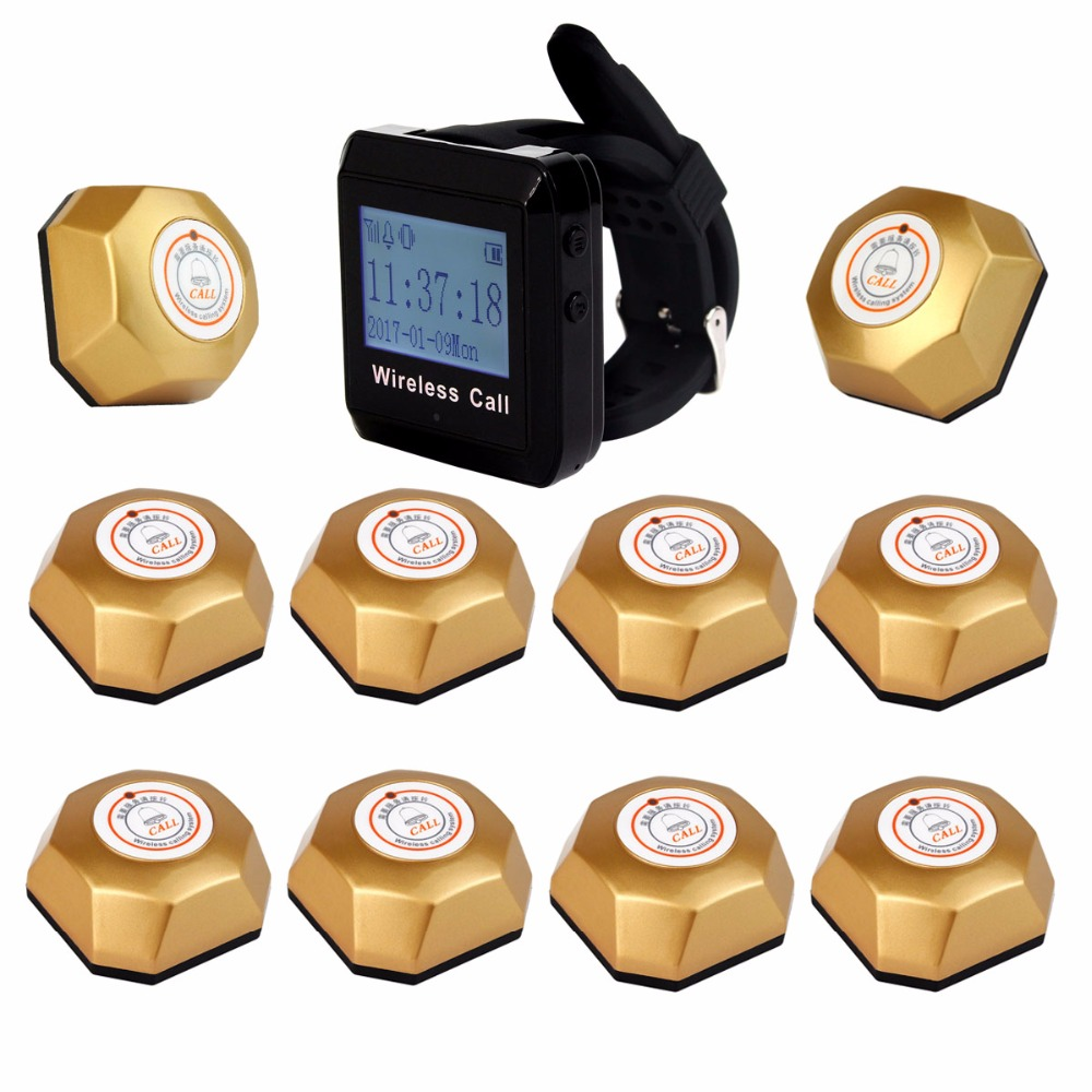 433MHz 1pcs Wrist Pager Receiver+ 10pcs Gold Call Transmitter Button Wireless Pager Restaurant Calling Paging System F3258 2 receivers 60 buzzers wireless restaurant buzzer caller table call calling button waiter pager system