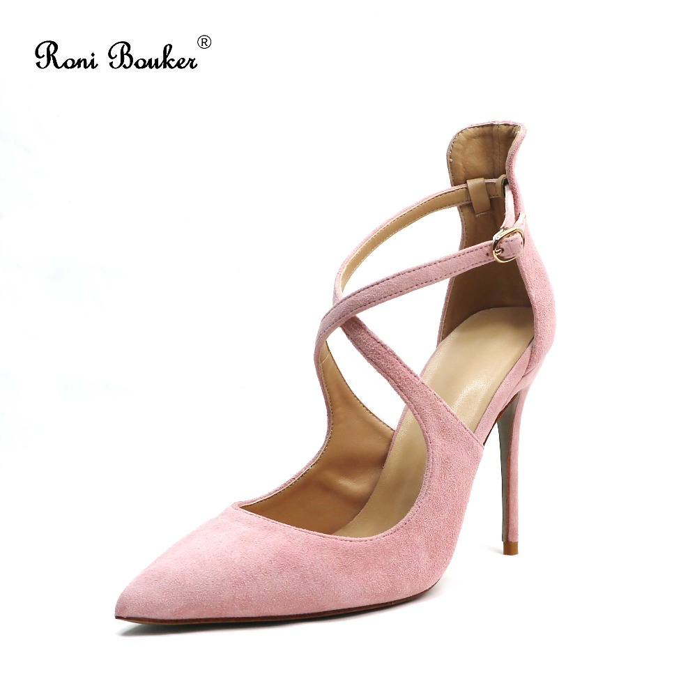 New Arrival Hot Pink Real Suede Leather Lady Buckle Party High Heels Sandals Women Lace Up Shoes Handmade Wholesale
