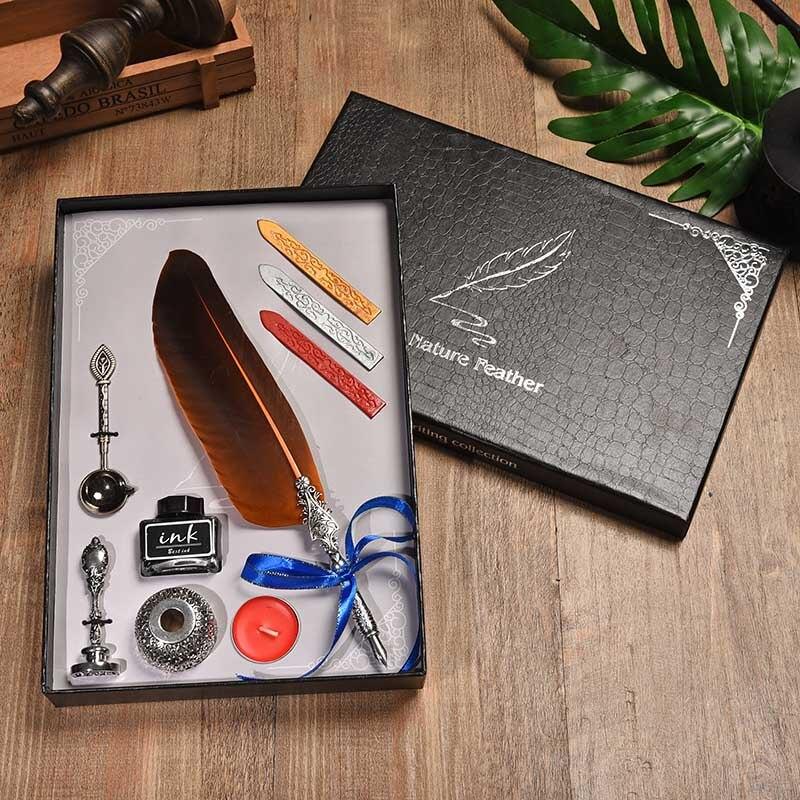 BNB Européenne Creative Plume Pen Set Vintage Dip Fontaine Stylo Publicité Creative Cadeau Stylo Cadeau Boîte Visa Stylo Outils D'écriture