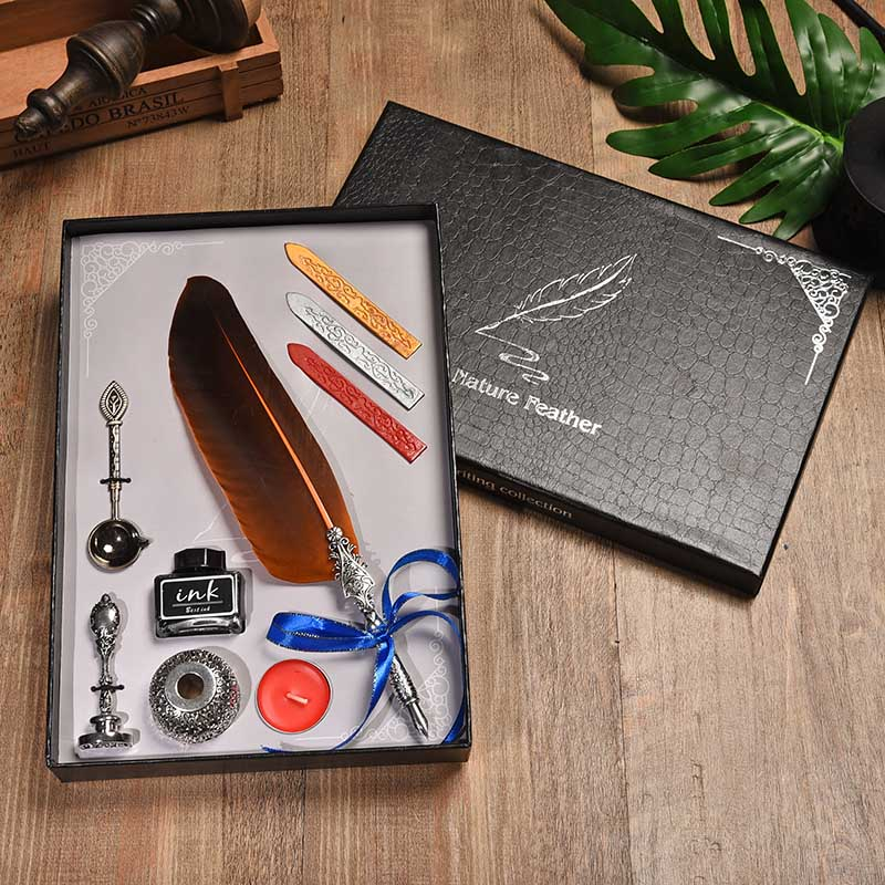 BNB European Creative Feather Pen Set Vintage Dip Fountain Pen Advertising Creative Gift Pen Gift Box Visa Pen Writing Tools bnb europe and the united states creative craft feather pen ink set feather pen gift box new metal pen can be customized