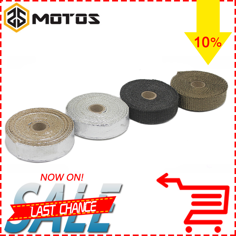 ZS MOTOS 5M/10M/15M Thermal Exhaust Header Pipe Tape Heat Insulating Wrap Tape Fireproof Cloth Roll With Durable Steel Ties Kit