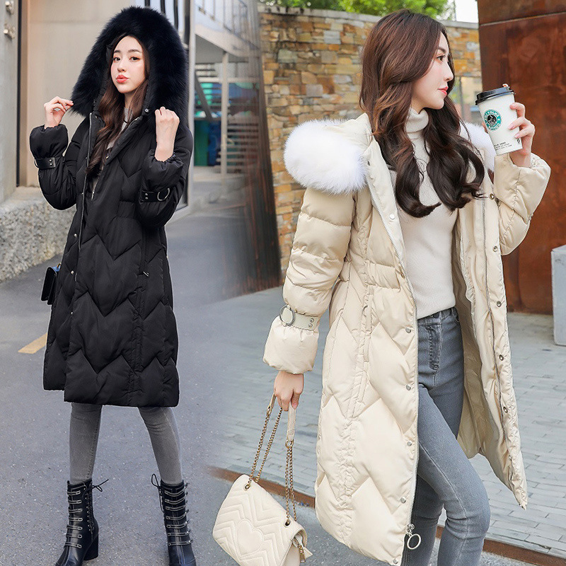 De 2018 Coton Veste Grand Corps D'hiver Col Chaud En Genou Nouveau Plus Robe Épais Réparation Féminine black Laine Beige Longue Manteau rFrt8qw