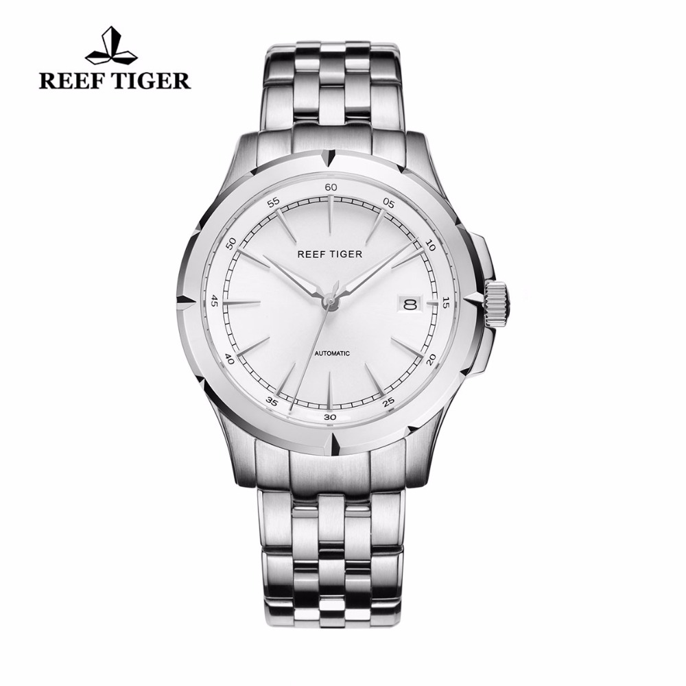 2018 New Luxury Brand Automatic Reef Tiger Spirit Of Liberty Date Män Full Steel Business Klockor Silver Stick Markers - RGA819