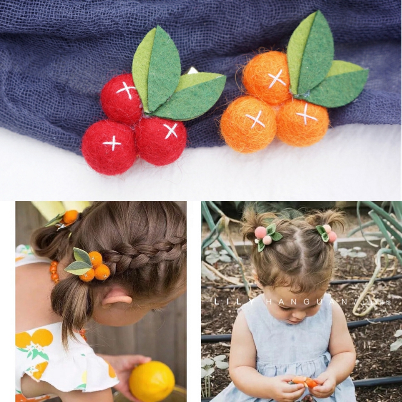 China Explosion good blessing Wool Small Orange Felt Ball Girl Hair Clips Fruit Leaves Hairpins Handmade Barrettes Kids   Headwear