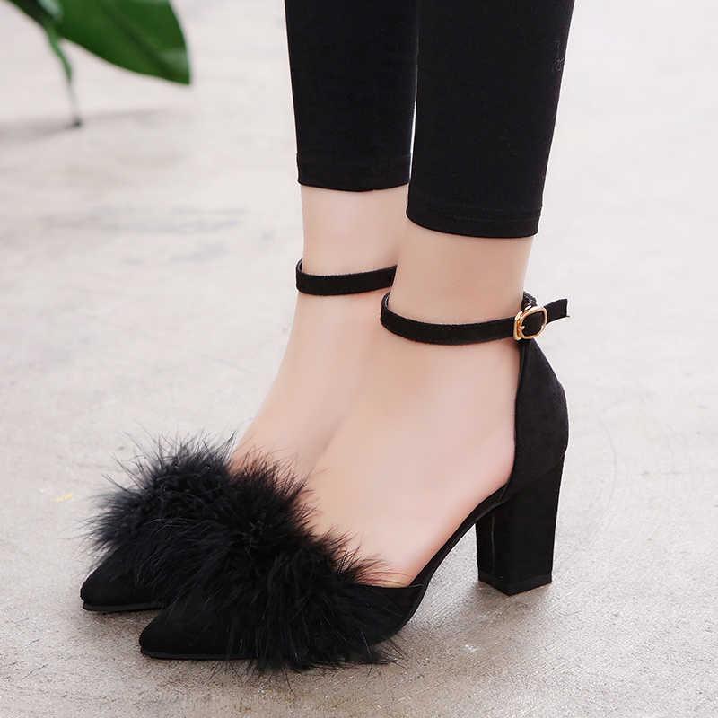 Yaz Kadın Pompaları t-sahne Kürk Toka Askı Platformu Açık Toe Dancing yüksek topuklu sandalet Seksi Parti Düğün Ayakkabı Siyah mujer