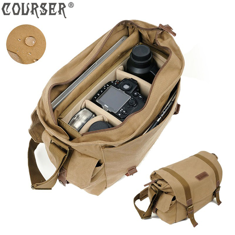 COURSER Canvas Camera bag shoulder bags canvas bag 40*18*28cm lightweight large capacity casual style leisure bag PACPF1005 dollice dr 655 canvas camera bag black as domke f7