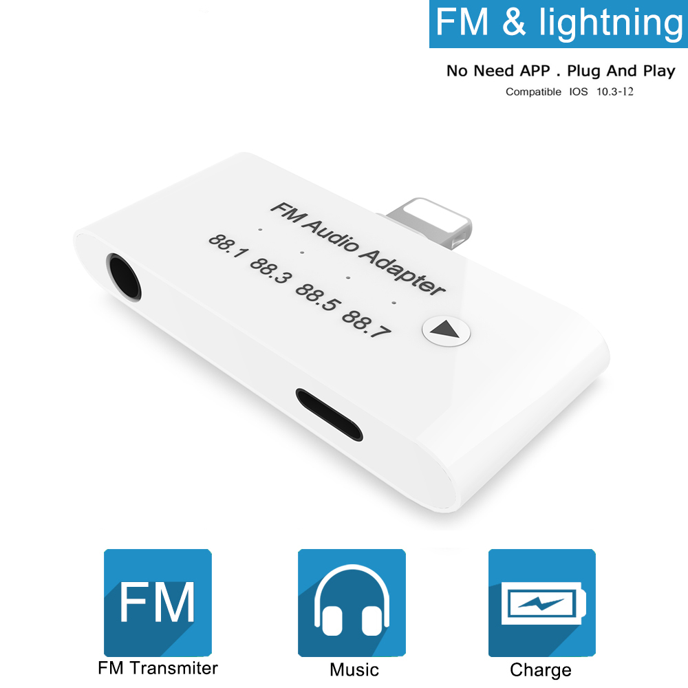 THT-015 3 In 1 Lightning FM Audio Adapter Transmitter Kit With 3.5mm Headphone Aux Jack Adapter For IPhone THT-015