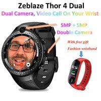 5MP+5MP Double Camera Zeblaze Thor 4 Dual Smart Watch Men Heart Rate Sim Card GPS 4G 1GB+16GB Smartwatch with luxury free gift