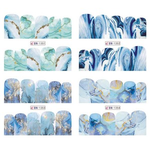 Image 4 - 12 Designs Marble Texture Nail Sticker Water Decals gray blue Marble Series Nail Tips Manicure Full Wraps Nail Decor BN1345 1356