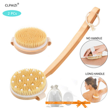 CLPAIZI  Body Brush Set Exfoliator Boar Bristle with Massage Dry Brush, Wood Back With Removable Long Handle for Shower 30