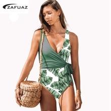 Monokini Swimsuit XL 2019 One Piece Plus Size Swimwear Women Bandage Print Bathing Suit Tummy control Swimming