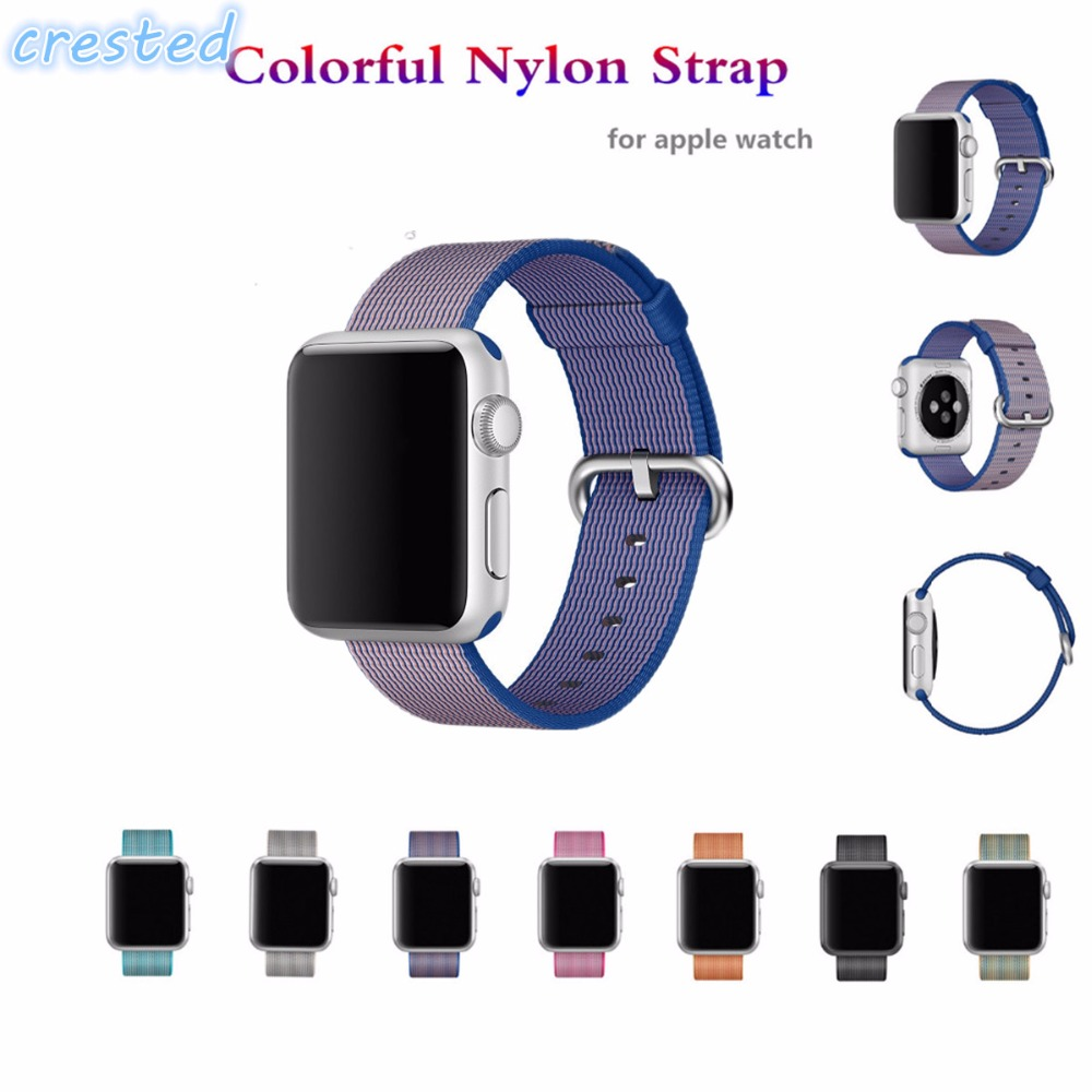 CRESTED  Woven Nylon watch band For apple watch band strap 42 mm/38 wrist braclet Fabric-feel metal bucket belt for iwatch 2/1