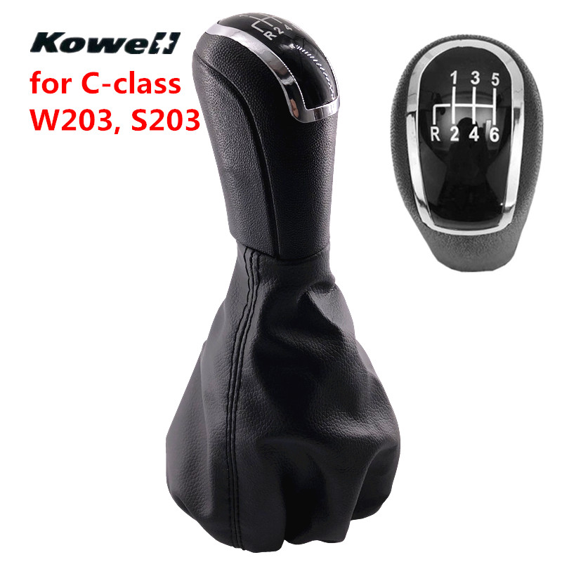 6 Speed PU Leather MT Gear Shifter Lever Stick + Gaitor Boot Cover for Mercedes-Benz C Class W203 S203 C-Class Gear Shift Knob