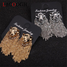 Lacoogh women nightclub personality trend gold and silver lion head tassel earrings fashion