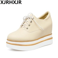 Brand High Heel Wedges Shoes Platform Women Lace Up Casual Shoes Sexy Women Shoes Fall Winter
