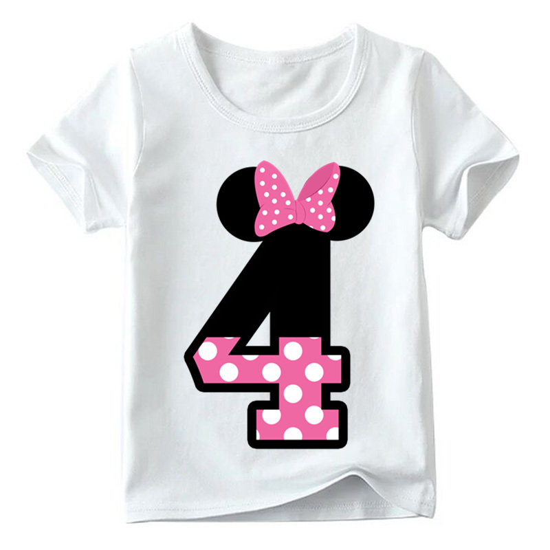 Baby Boys/Girls Happy Birthday Letter Bow Cute Print Clothes Children Funny T shirt,Kids Number 1-9 Birthday Present,HKP2416 10