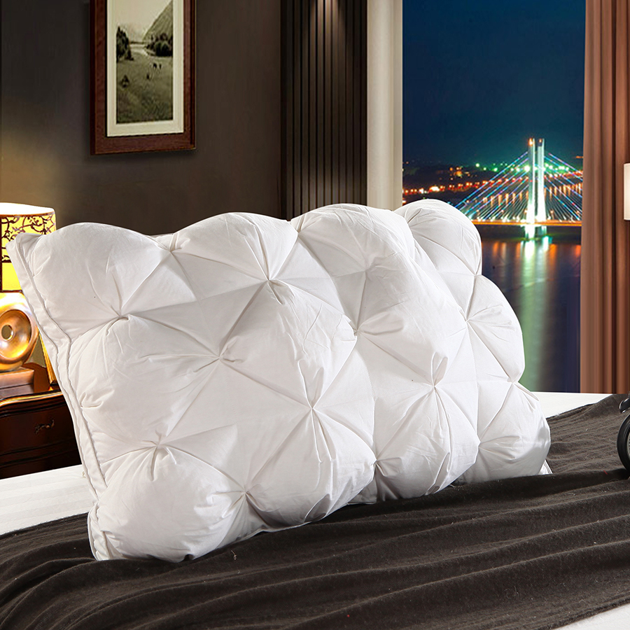 Peter Khanun Luxury Design 3D Rectangle White Goose Duck Feather Down Pillows Down Proof 100 Cotton