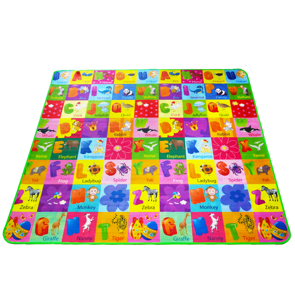 Dobbeltsidig Animal Car + Fruit Letter Baby Play Mats Crawling Pad Kids Game Carpet Leker For Children Developing Rug DropShipping