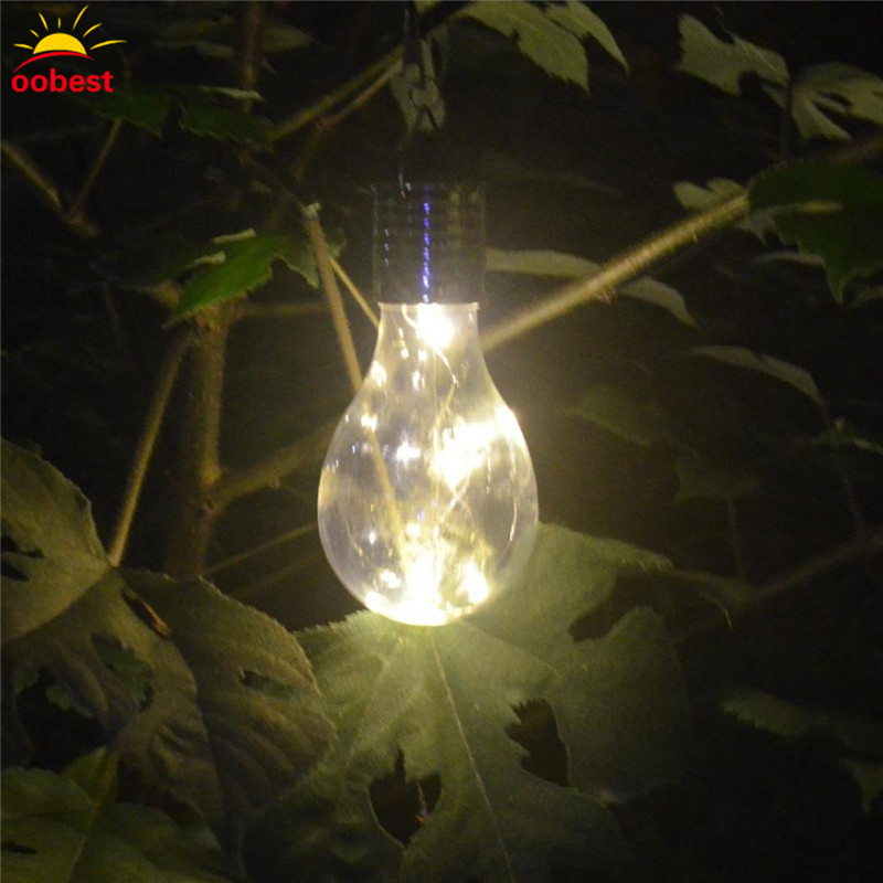 Oobest New Solar Light Bulb with Clip Solar Rotatable Outdoor Garden Camping Hanging Light Lamp Bulb for garden decoration