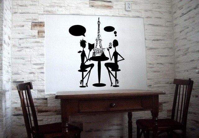 lady paris in restaurant cafe design wall sticker vinyl decals art