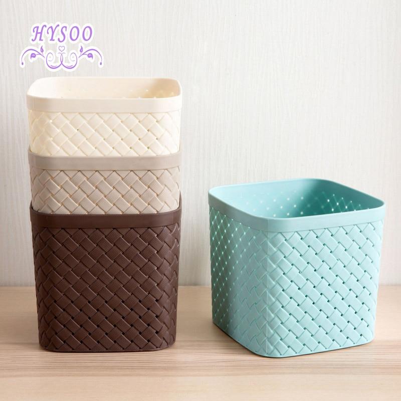 Imitation Woven Square Storage Basket Desktop Storage Basket Plastic Hollow  Debris Basket Storage Box(China