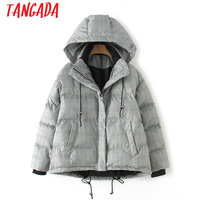 Tangada Winter Vintage Women Jacket Hooded Cotton Padded Coat Pocket Casual Plaid Zipper Loose Warm Parka For Female HY06