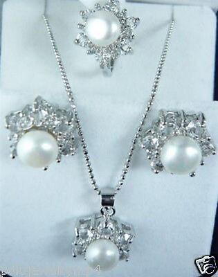 Prett Lovely Women's Wedding Jewelry white pearl RingNecklace Earrings set >AAA Bridal wide watc
