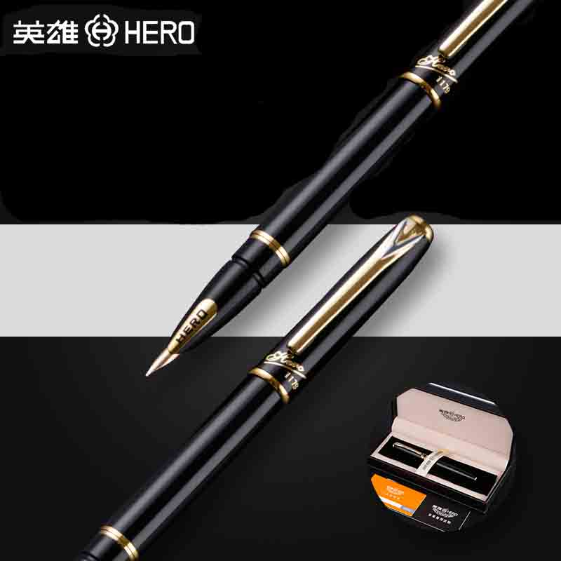 HERO 1179 Luxury 10K Golden Nib Fountain Pen 0.5mm High Quality Business Gift Pens with Original Gift Case Office Supplies hero 285 smooth black and gold clip calligraphy pen 0 8mm curved tip metal fountain pen with original gift case office supplies