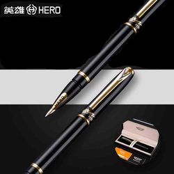 HERO 1179 Luxury 10K Golden Nib Fountain Pen 0.5mm High Quality Business Gift Pens with Original Gift Case Office Supplies