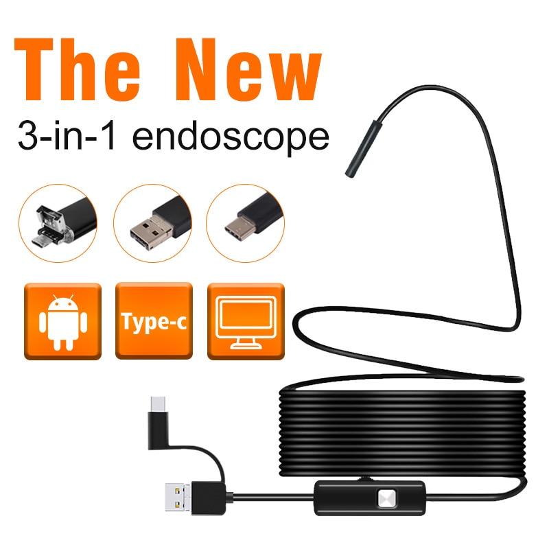 3 in 1 Semi-starre USB Endoskop Kamera 5,5mm 720 p Wasserdicht Schlange Kamera Mit 6 Led für windows & Macbook PC Android Endoskop