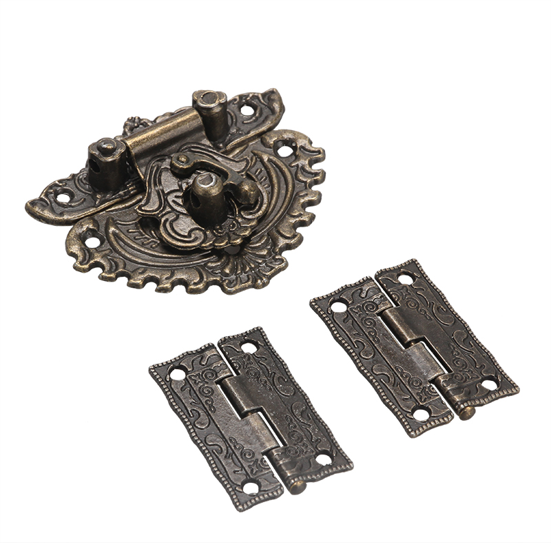 Furniture Hardware Latch Hasp Toggle Buckle+ 2Pcs Decorative Cabinet Hinges for Jewelry Wooden Box