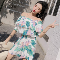 Summer Print Playsuit Women Short Sleeve Slash Neck Ruffles Casual Beach Floral Playsuit Party Club Playsuits Ladies Bodysuit