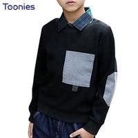 Thick Boys Sweatshirt 2018 Autumn Winter Kids Pullover Spliced Design Warm Boy Sweatshirts New Fashion Child Costumes Big Pocket