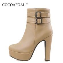 COCOAFOAL frauen Gothic Schuhe High Heels Chelsea Stiefel Plus Größe 43  Sexy Martin Stiefel Schwarz Weiß 829422404b