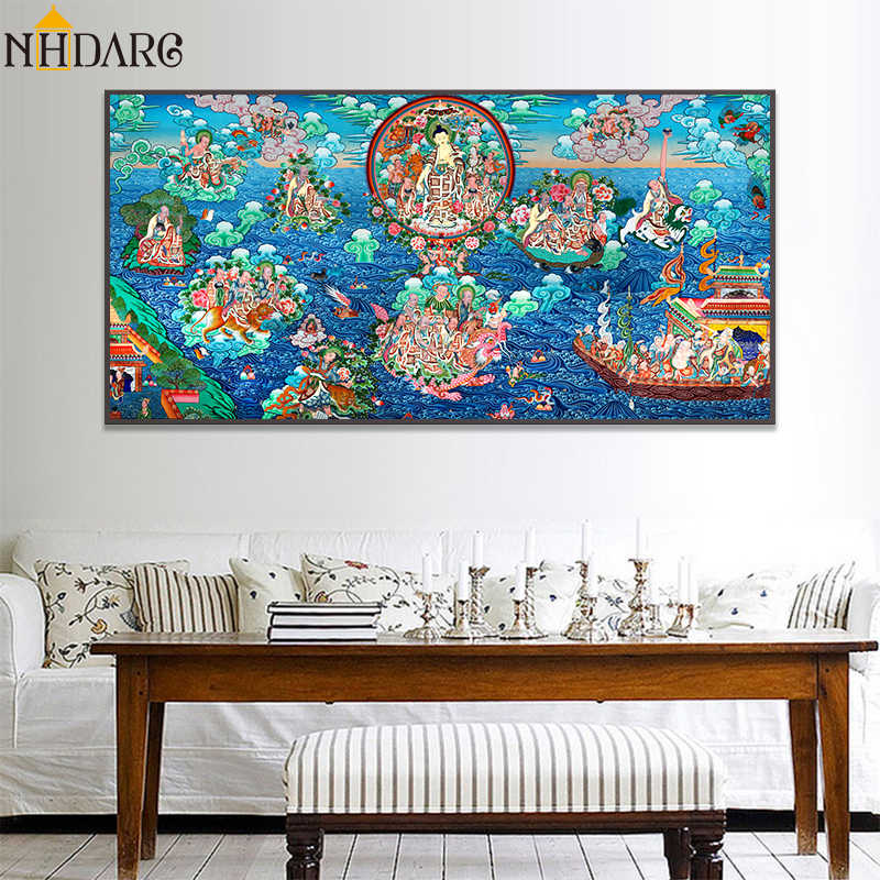 Sakyamuni and Arhat Thangka Tibet Classic Art Copy Buddhism Buddha Statue Canvas Print Painting Poster Wall Pictures Home Decor