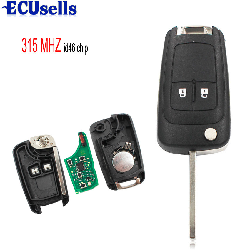 2 Buttons 315MHz With ID46 Chip Remote Control Key Fob For
