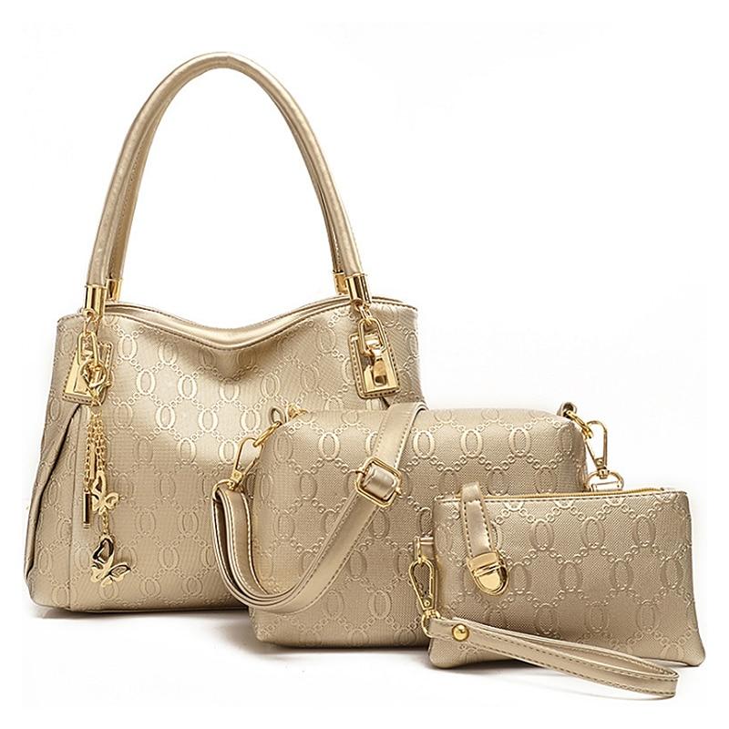 2018 여성 3 가방 / 가죽 숄더 가방 설정 고품질 여성 브랜드 디자인 캐주얼 여행 가방 숙 녀 메신저 가방 지갑 핸드백
