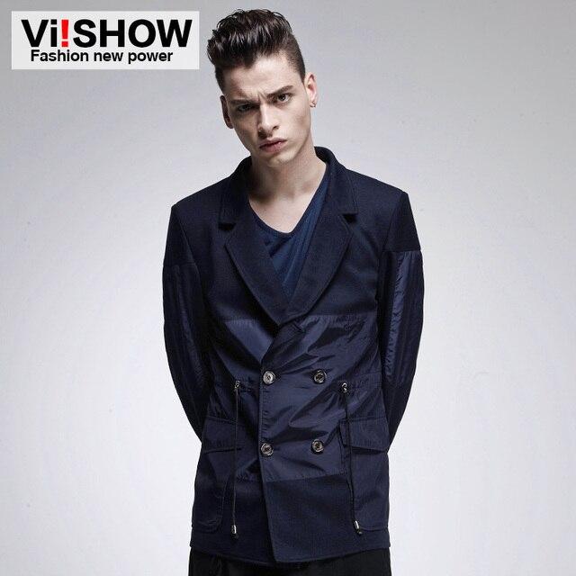 Viishow новый slim-подходят Blazer пиджак мужчины пиджак куртка двойника кнопки мужские пиджак 2016 осень лоскутная пальто мужской люкс