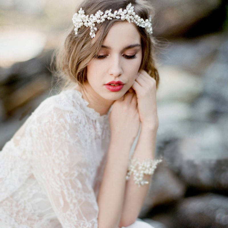 Korea Style Hairwear Bride Crystal Jewelry Women Wedding Party Gifts One Line Wedding Hair Accessories With Ribbon 2020 New