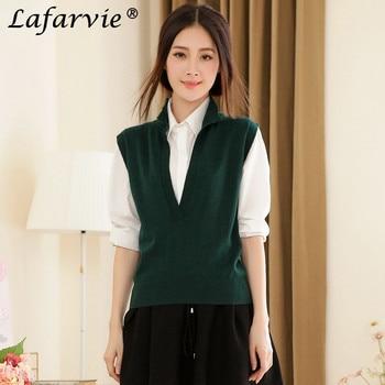 Lafarvie Fashion Cashmere Blended Sweater Women Vest Shrug Pullover Spring&Autumn Turn-down Collar Sleeveless Pull Female Jumper