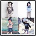 Chicos de manga larga camisetas de algodón 100% de los niños ropa de otoño e invierno oso de dibujos animados camisetas niños ropa de las muchachas ropa