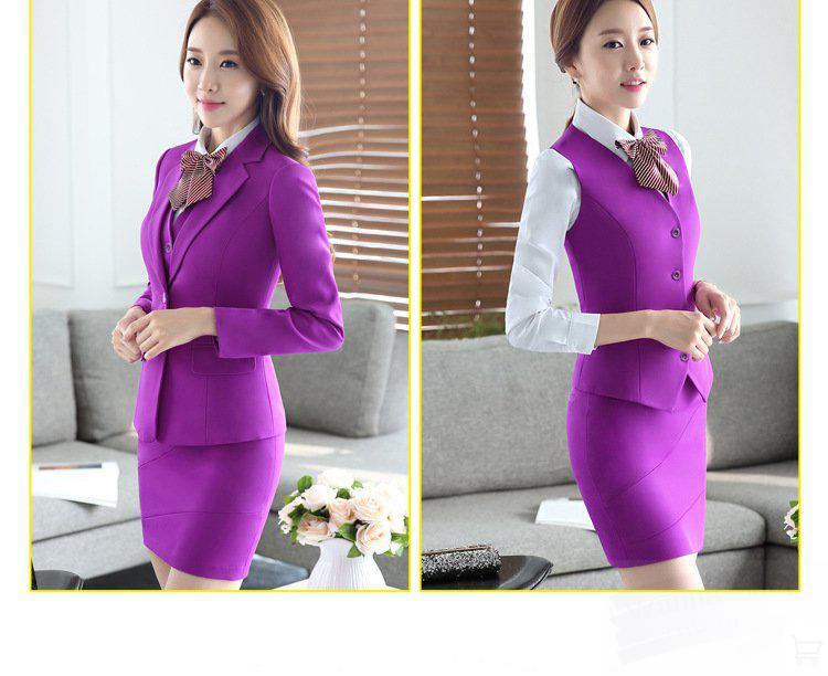 office skirt suit lady airlines wear hotel bank uniform red purple grey black 3pcs set beautiful suit business women