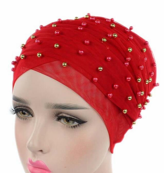 wrap cap fancy mesh pearl turban hat bandana chemo cancer bonnet hat Cap lovely bonnet free ship chemo skullies satin cap bandana wrap cancer hat cap chemo slip on bonnet with ribbon 8 colors 10pcs lot free ship