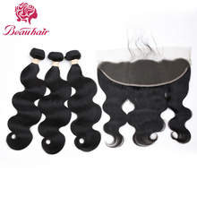 Brazilian Hair Body Wave Lace Frontal Free Part Closure With 3 Bundles Human Hair Body Wave Weave Bundles Natural Color