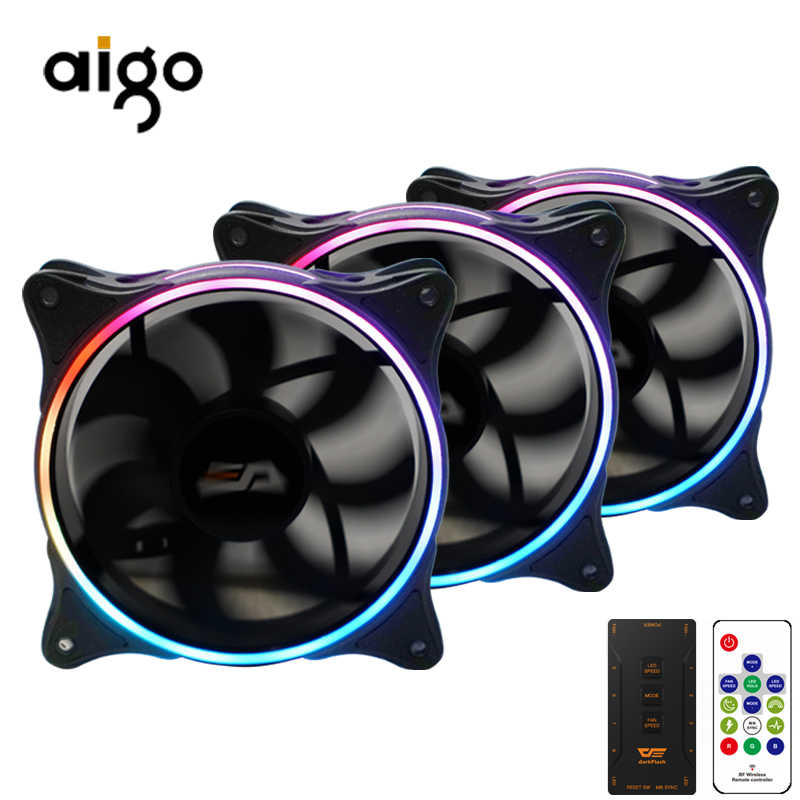 Aigo MR12 120mm rgb case cooling fan cooler SYNC met ASUS draadloze controller pc fan cooling dubbele ring stille controle afstandsbediening