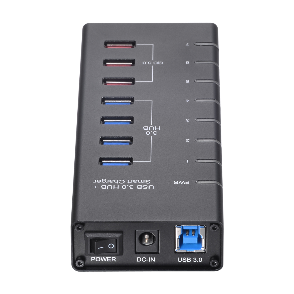 Multiport USB 3.0 HUB 7-Port USB Hub Splitter Adapter Smart Charging QC 3.0 Ports Super Speed 5Gbps Aluminum Alloy for PC Laptop 7 ports usb 3 0 hub with super speed 5 gbps white